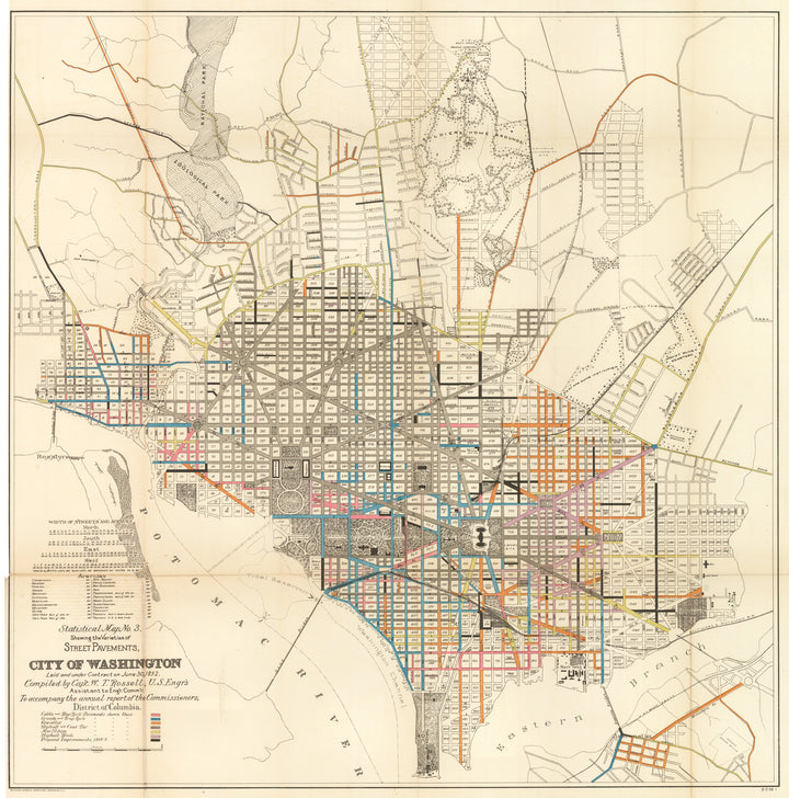 Statistical Map No.3 showing the Varieties of Street Pavements, City of Washington, 1891