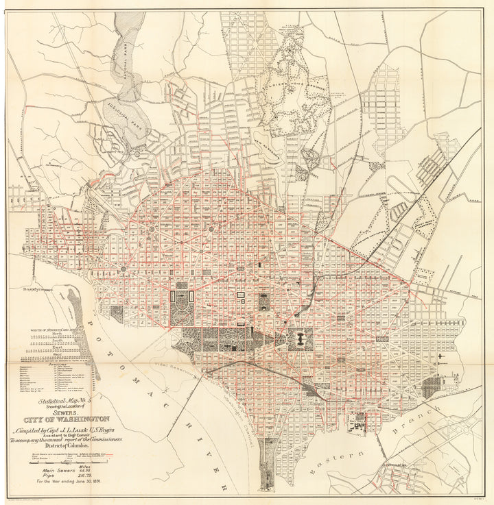 Statistical Map No.5. Showing the Location of Sewers. City of Washington, 1891