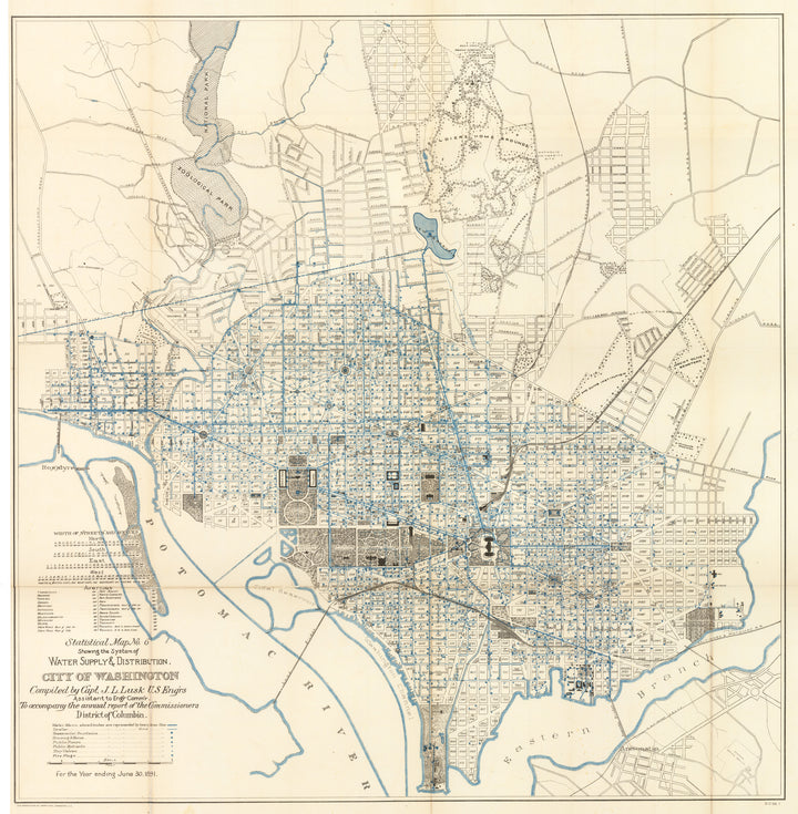 Statistical Map No. 6. Showing the System of Water Supply & Distribution. City of Washington