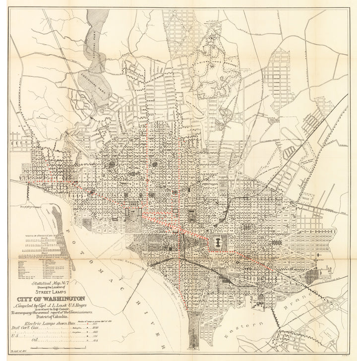 Statistical Map No. 7. Showing the Location of Street Lamps. City of Washington