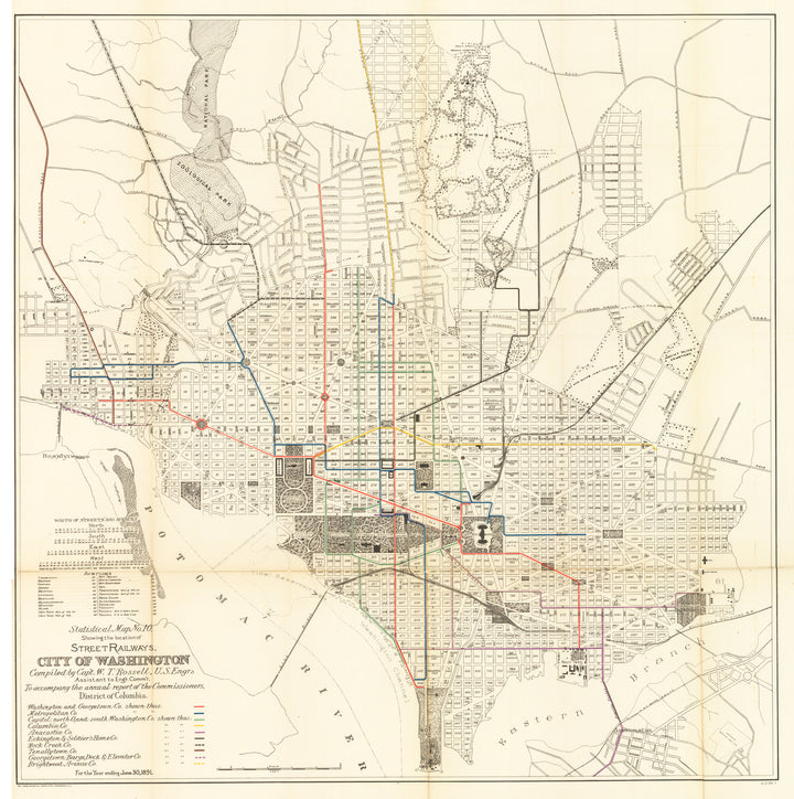 Statistical Map No. 10. Showing the Location of Street Railways. City of Washington