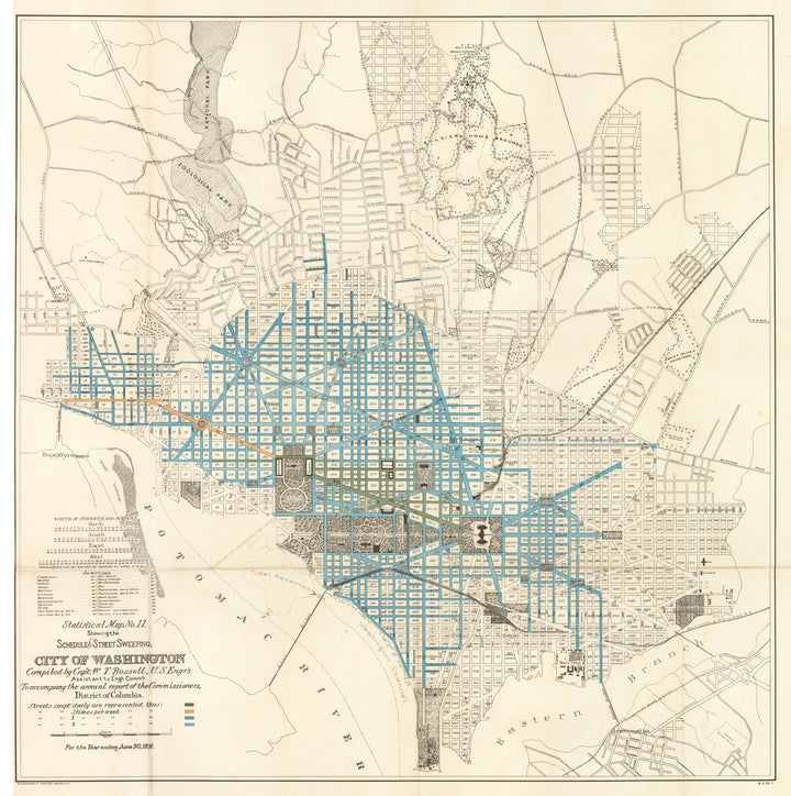 Statistical 1891 Map No. 11. Showing the Schedule of Street Sweeping. City of Washington