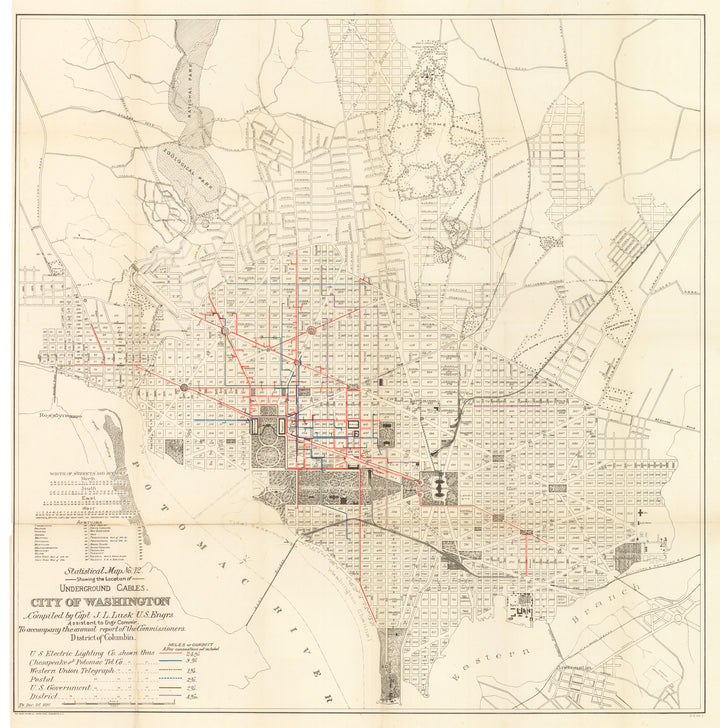 Statistical Map No. 12. Showing the Location of Underground Cables. City of Washington, 1891