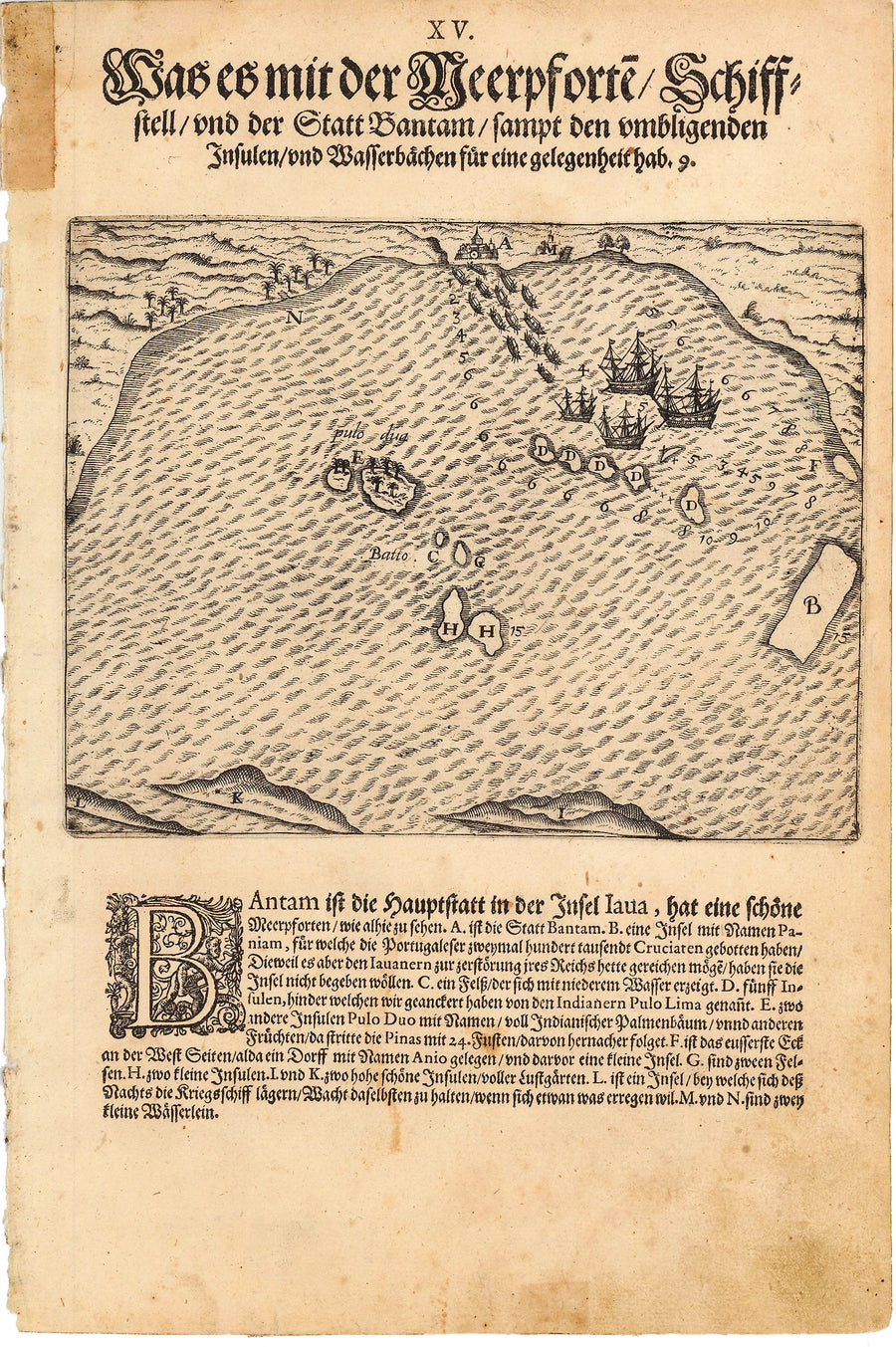 Antique Map of Dutch Fleet in Bay on Bantam, Java - de Bry, 1599