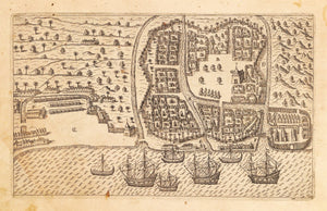 Antique Map of Bantam, Java by Theodore dr Bry, 1599