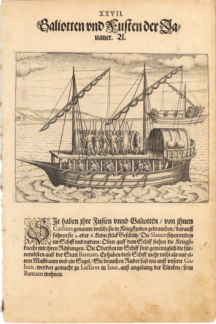 Antique Print of Native Javanese War Ship - de Bry, 1599