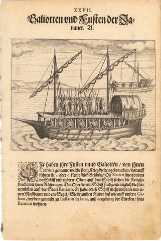 1599 Print of Native Javanese War Ship
