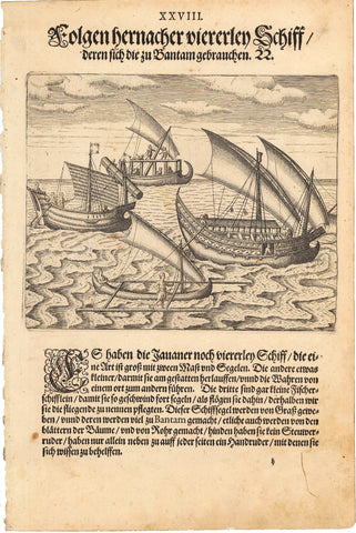 1599 Print of Native Javanese Vessels at Sea