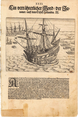 Antique Print Showing Attack on Dutch Ship by Javanese, by de Bry 1599