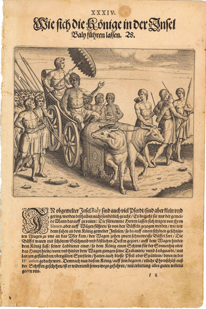Antique Print of a Native Balinese Royal Procession - de Bry, 1599