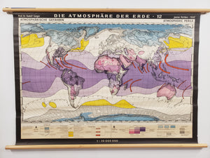 Antique Climate Wall Map of the World - Atmospheric Perils by Justus Perthes, 1930s