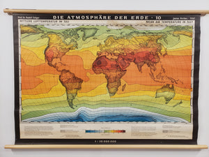 Antique Climate Wall Map of the World - Mean Air Temperature in July, by: Justus Perthes, 1930s
