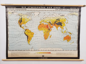 Antique Climate Wall Map : Total Annual Short Wave Radiation by Justus Perthes, 1930s