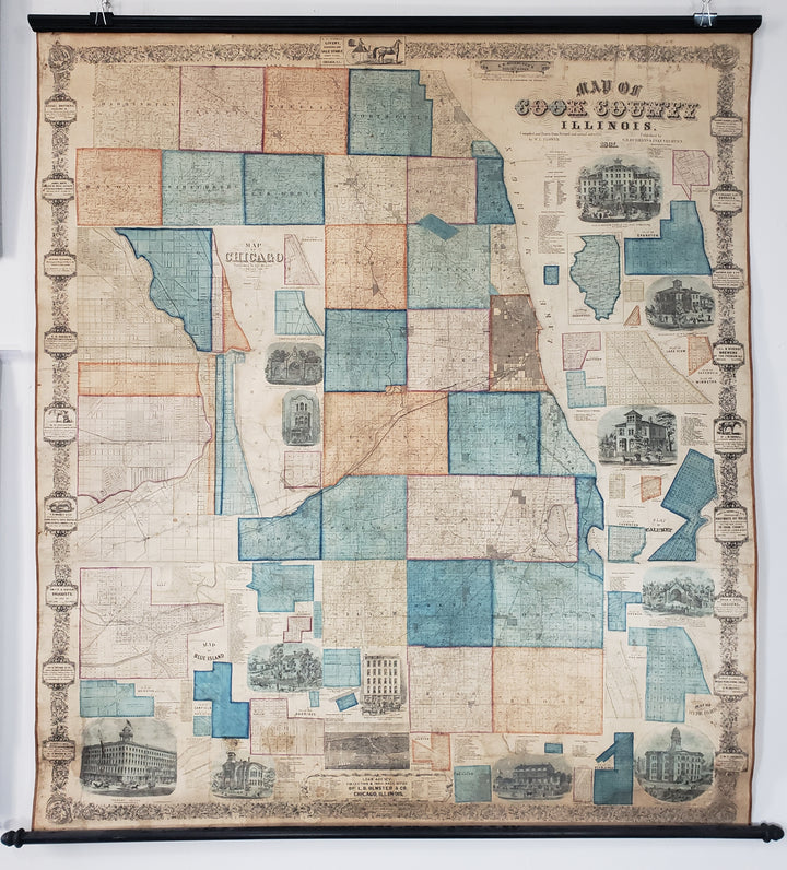 Map of Cook County Illinois with Chicago by W. L. Flower, 1861