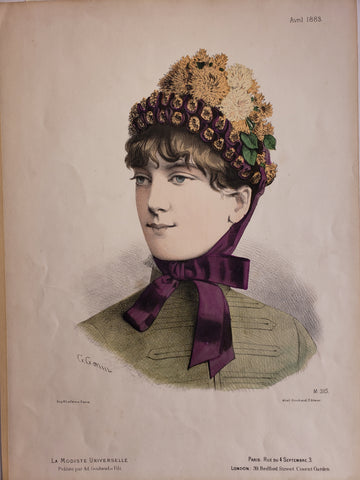 1883 Easter Bonnet - Hand colored fashion plate