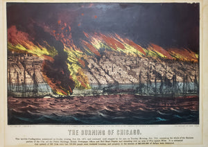 Fine Original Print of the Burning of Chicago by Currier & Ives, 1871