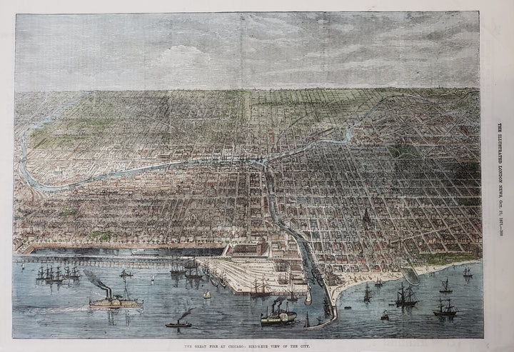 Antique Print | Great Fire at Chicago - Bird's Eye View of the City