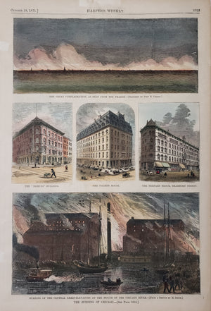 Antique Print : The Burning of Chicago by: Harper's Weekly, 1871