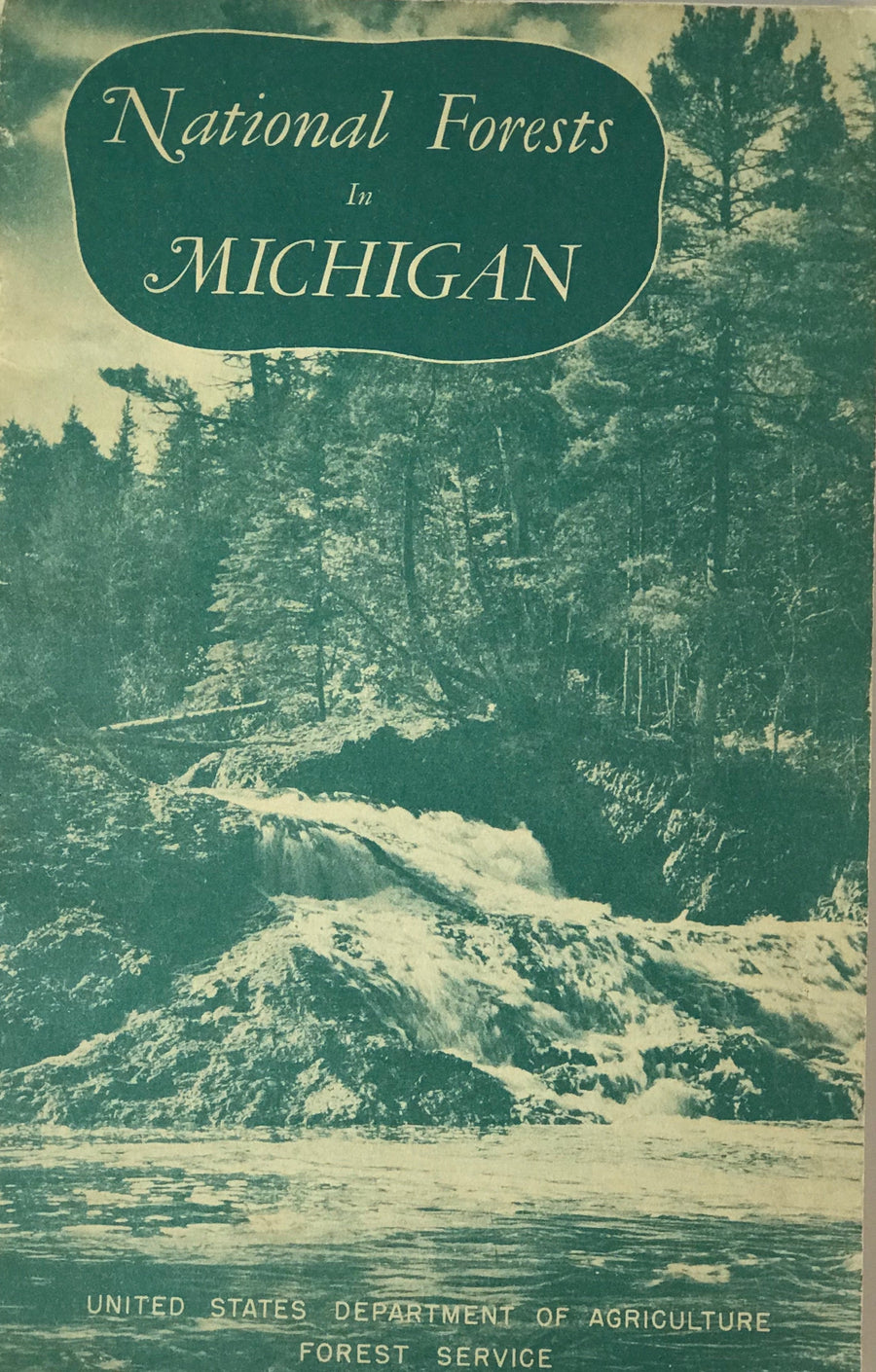 Informational booklet about the various national forest regions in the state of Michigan.