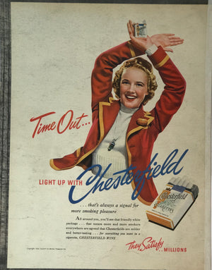 WWII Era Full Page Advertisement for Chesterfield Cigarettes