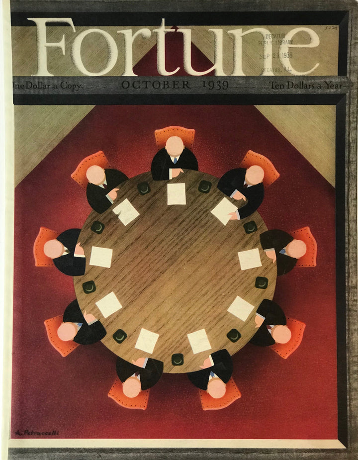 Full color cover page of Fortune Magazine, October 1939