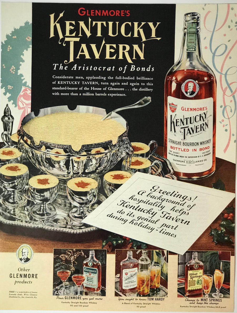 WWII Era Full Page Advertisement for Glenmore's Kentucky Tavern Whiskey