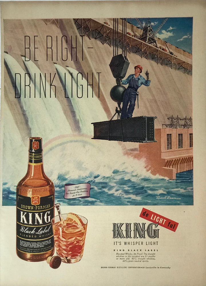 WWII Era Full Page Advertisement for King Black-Label Blended Whiskey