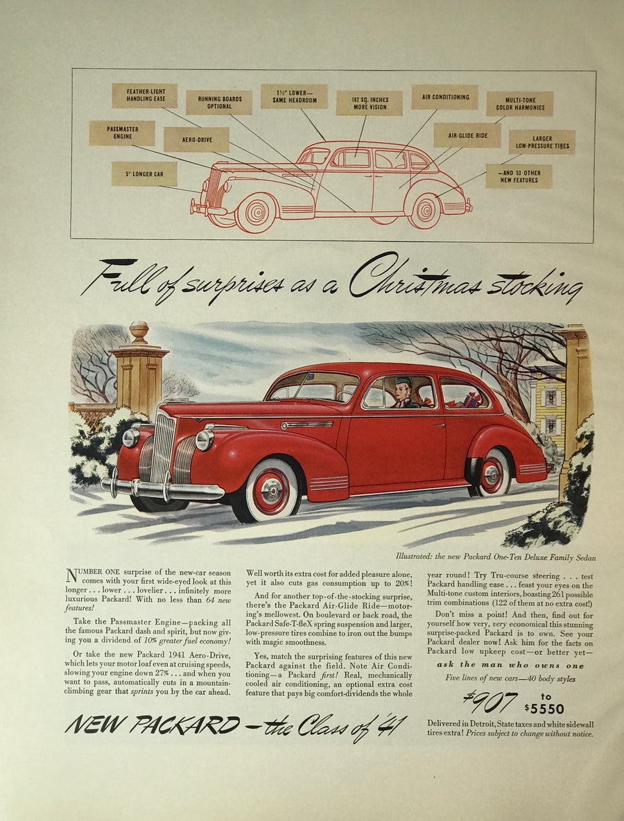WWII Era Full Page Advertisement for Packard Automotive's Deluxe Family Sedan