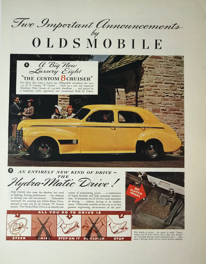 WWII Era Full Page Advertisement for Oldsmobile Automotive's Custom 8 Cruiser