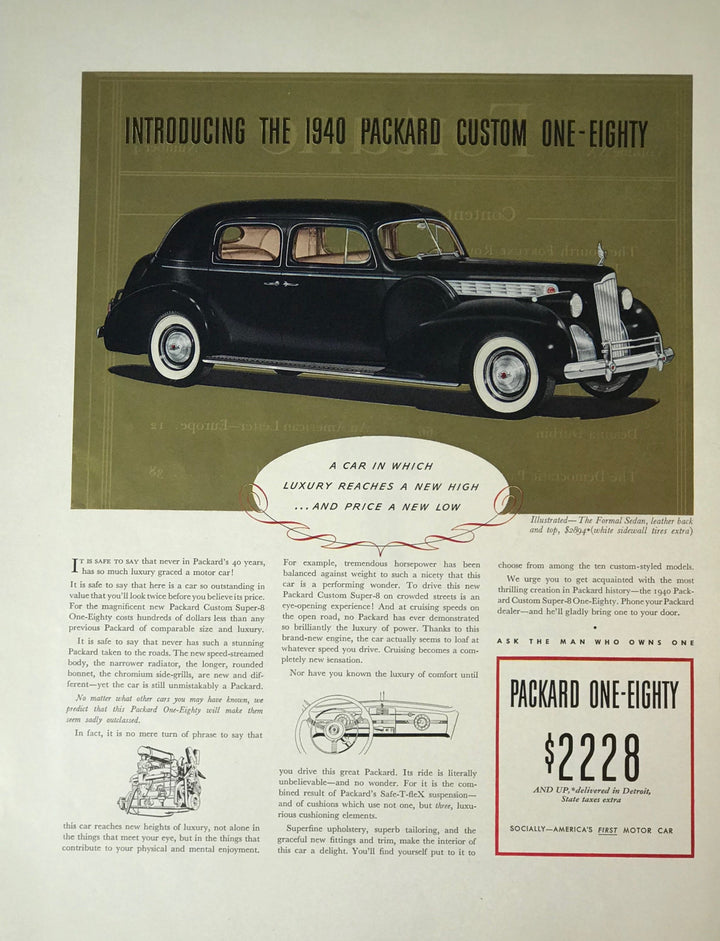 WWII Era Full Page Advertisement for Packard Automotive's Custom One-Eighty Sedan