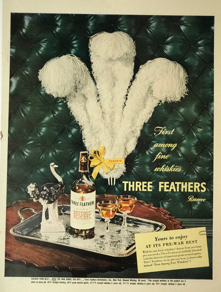WWII Era Full Page Advertisement for Three Feathers Reserve Whiskey