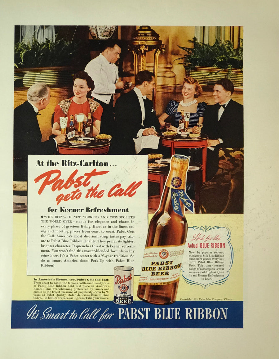 WWII Era Full Page Advertisement for Pabst Blue Ribbon beer