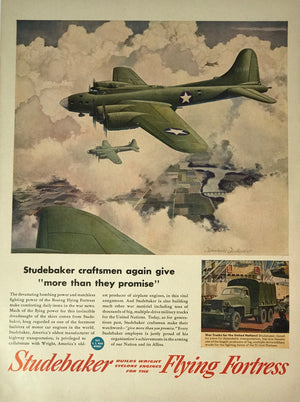 WWII Era Full Page Advertisement for the B-52 Flying Fortress, produced by Studebaker automotive