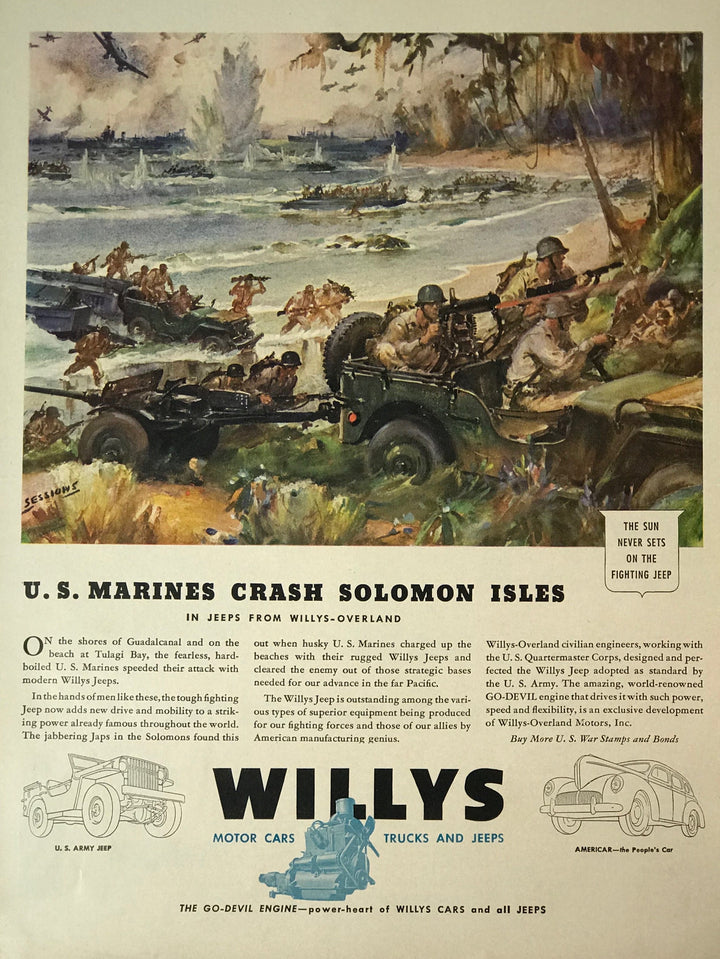 WWII Era Full Page Advertisement for military style Jeeps by Willy's automotive