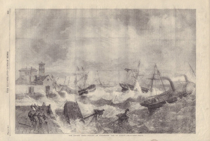Gale-Wrecks At Kingstown Bay of Dublin | London Illustrated News, 1861