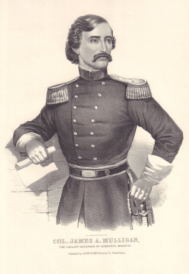 Antique Print: Col. James A. Mulligan by: Thomas Wagner, 1861-65