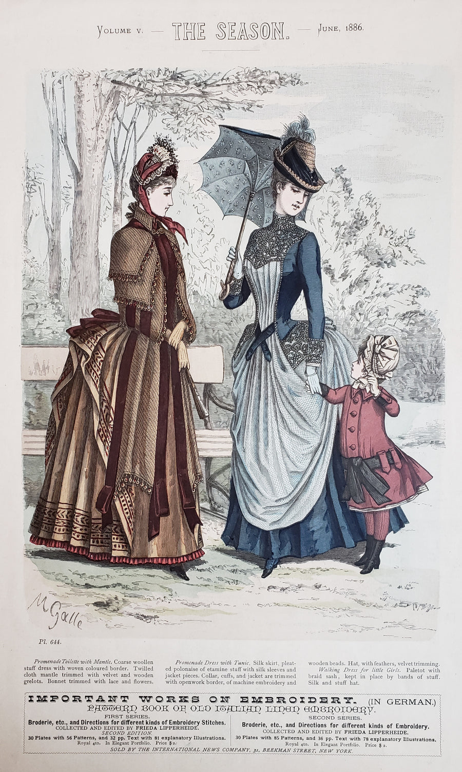 Antique Print - Women's Fashion - The Season, June, 1886 by: M. Galle