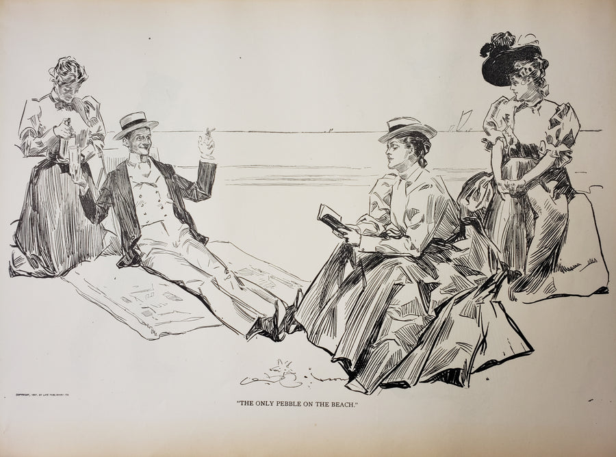 Fine Print of The Only Pebble - Charles Dana Gibson 1906