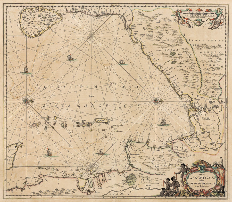 Authentic Antique Map the Gulf of Bengal: Sinus Gangeticus; Vulgo Golfo de Bengala Nova Descriptio By: Jan Jansson. The map was published in Amsterdam, circa 1657