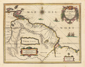 Authentic Antique Map: Guiana fiue Amazonum Regio By: Henricus Hondius Date: 1638 (circa) Amsterdam