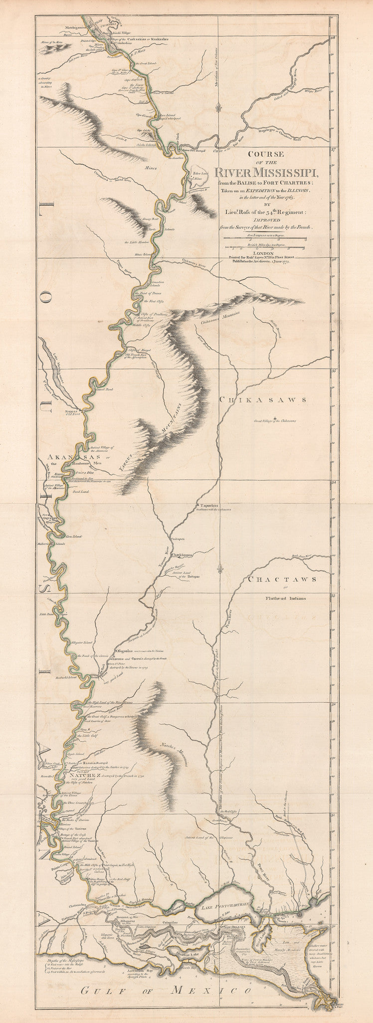 1775 Course of the River Mississippi from the Balise to Fort Chartres: Taken on an expedition to the Illinois in the latter end of the Year 1765.