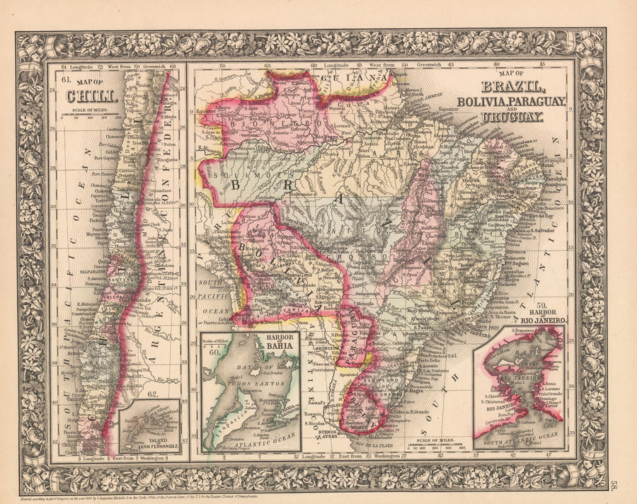 This is an authentic, antique lithograph map of Chili, Map of Brazil, Bolivia, Paraguay and Uruguay. by Samuel Augustus Mitchell Jr.