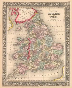 This is an authentic, antique lithograph map of England and Wales by Samuel Augustus Mitchell Jr.