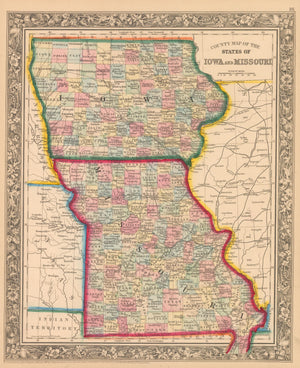 This is an authentic, antique lithograph map of the states of Iowa and Missouri by Samuel Augustus Mitchell Jr.
