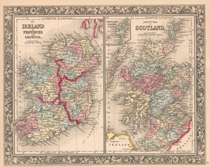 Antique Map of Ireland and Scotland by: Mitchell, 1860