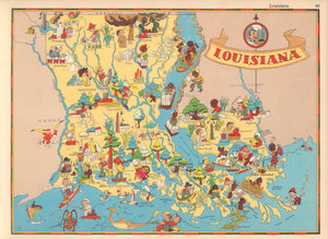 Pictorial Map of Louisiana by Ruth Taylor White, 1935