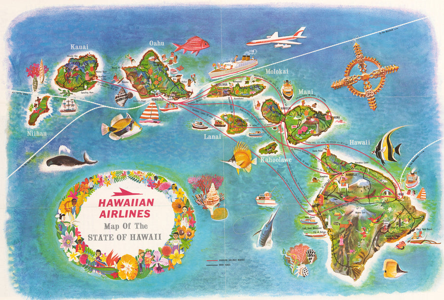 Mid-Century Pictorial Map of the Hawaiian Islands 1960