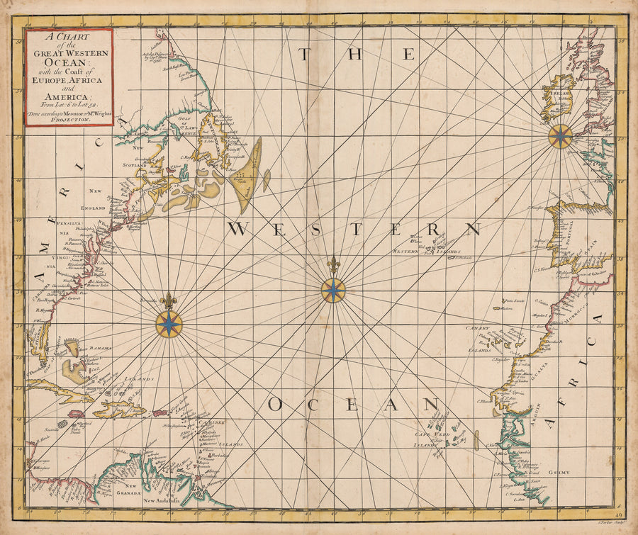 Authentic Antique Map of the northern Atlantic Ocean: A Chart of The Great Western Ocean with the Coast of Europe, Africa and America By: S. Parker  Date: 1721 (published)