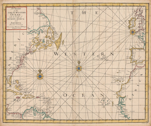 1721 A Chart of The Great Western Ocean with the Coast of Europe, Africa and America