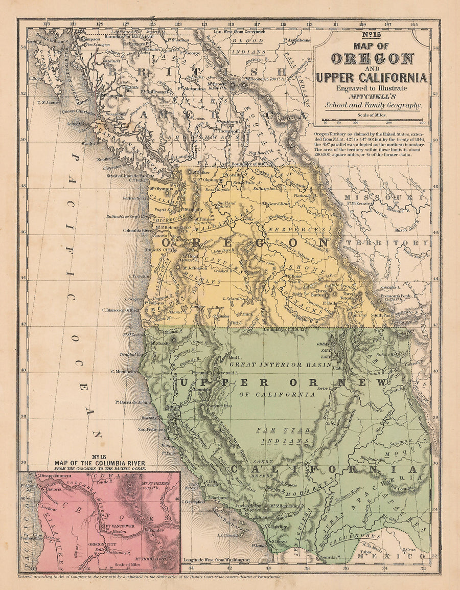 1846 Map of Oregon and Upper California